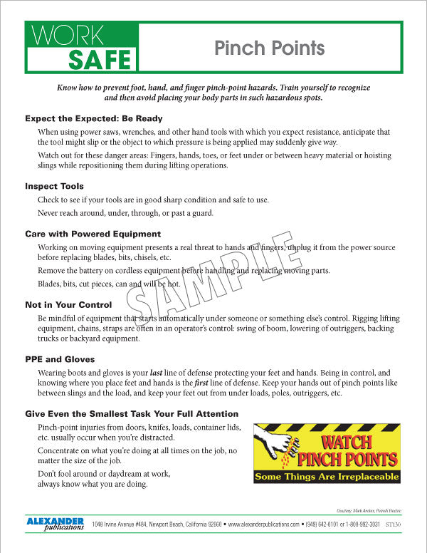 1 Point Safety >> Pinch Points Safety Topic