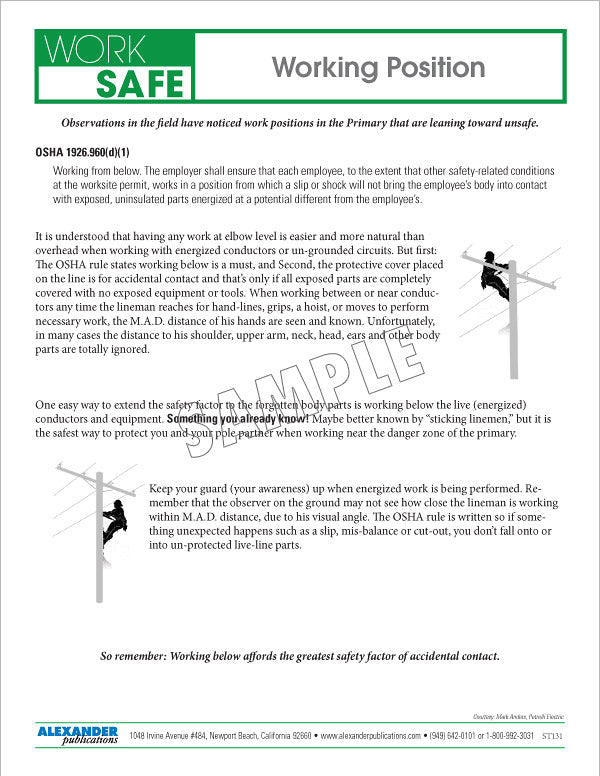 Working Position - Safety Topic