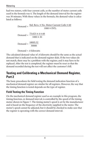 Testing and Calibrating Demand Meters - Study Guide
