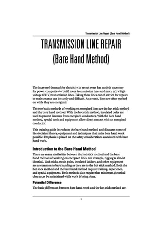 Transmission Line Repair (Bare Hand) - Study Guide