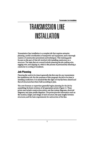 Transmission Line Installation - Study Guide