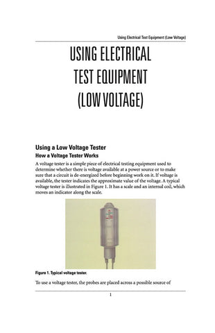 Using Electrical Test Equipment - Study Guide