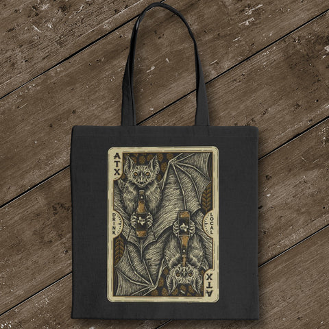 Bat Card Canvas Tote