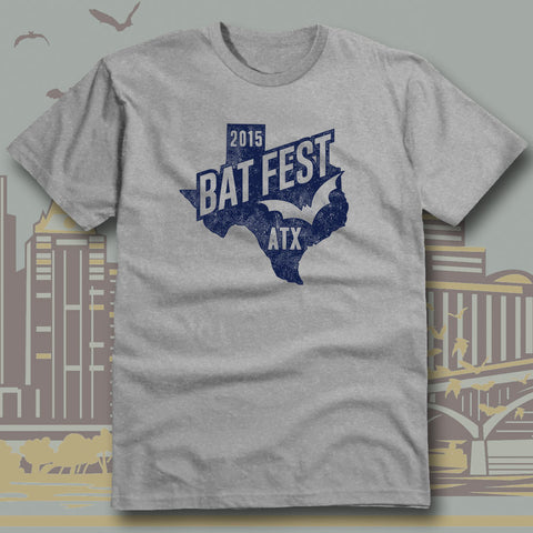 Official Bat Fest 2015 Heather Grey Unisex T-shirt
