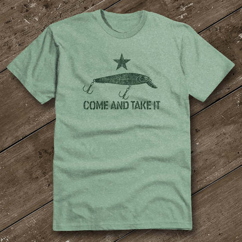 Come and Take It Lure Heather Green Shirt
