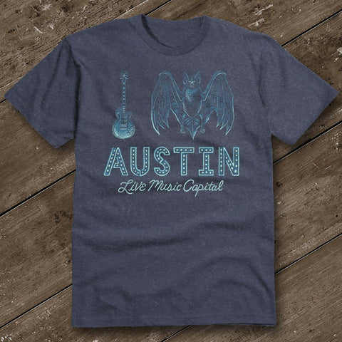 I Bat Austin Heather Navy T-Shirt