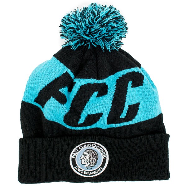 FCC BEANIE IN BLACK AND TEAL