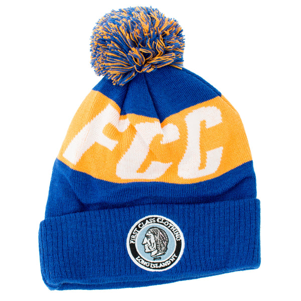 FCC BEANIE IN BLUE AND ORANGE