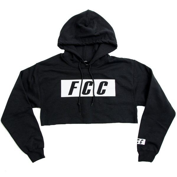 FCC CROP BOX LOGO HOODIE IN BLACK