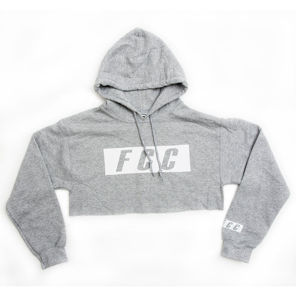 FCC CROP BOX LOGO HOODIE IN GREY