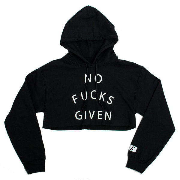 NO FUCKS GIVEN CROP HOODIE BLACK