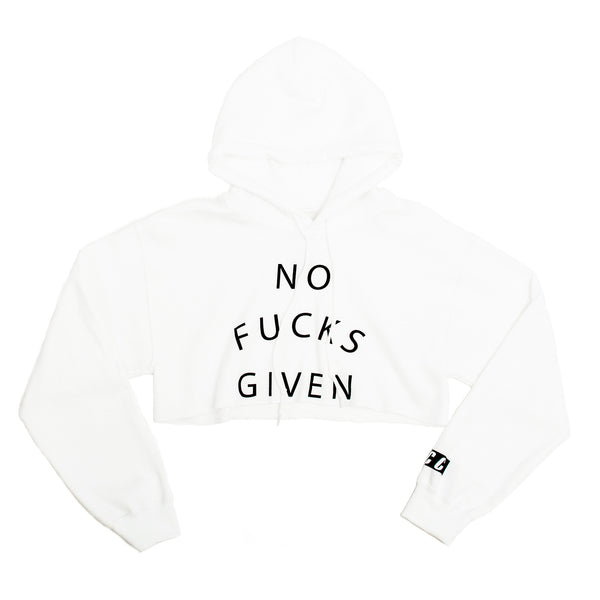 NO FUCKS GIVEN CROP HOODIE WHITE