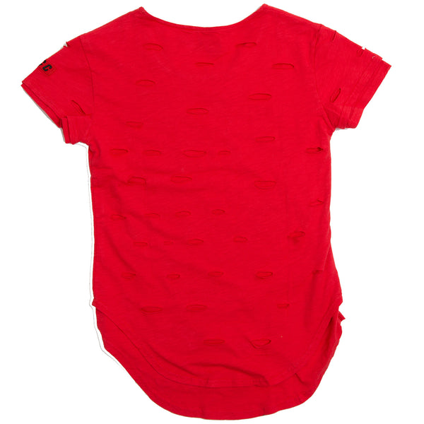 DISTRESS EXTENDED TEE RED