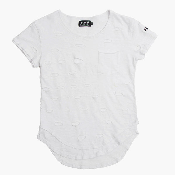 DISTRESS EXTENDED TEE WHITE
