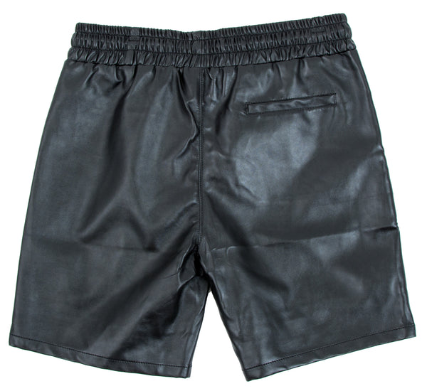 LEATHER SHORTS IN BLACK