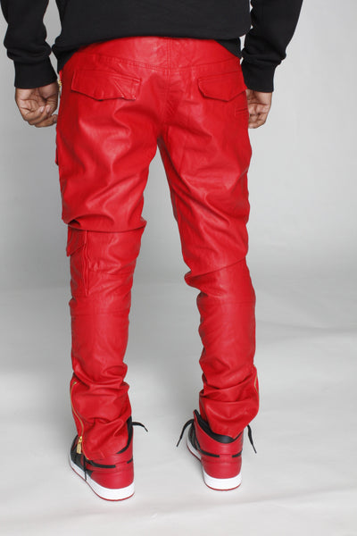 LEATHER CARGO PANTS IN RED