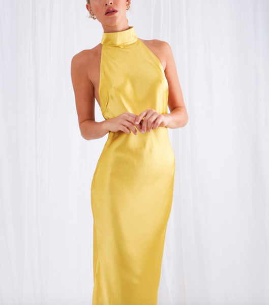 shop Raleigh dress in yellow at pretty lavish