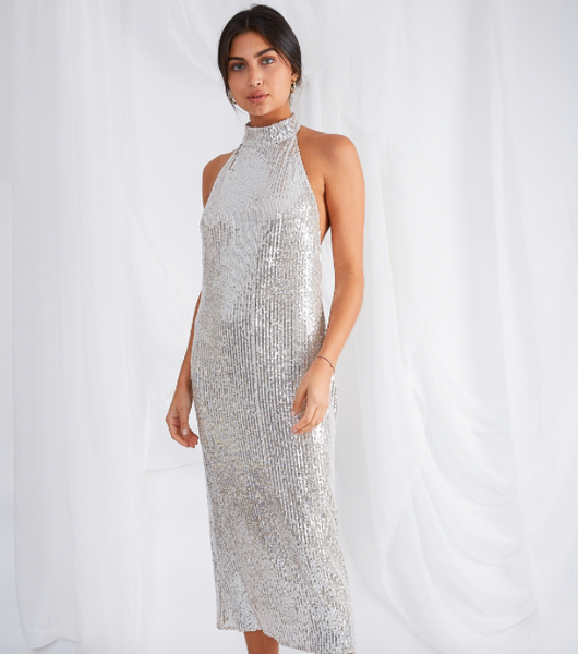 shop Raleigh halter neck dress sequin at pretty lavish