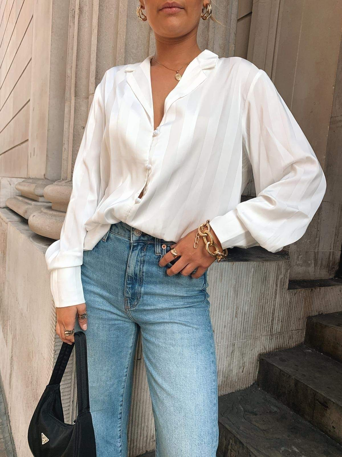 Bronte Button Blouse - White, Top - Pretty Lavish