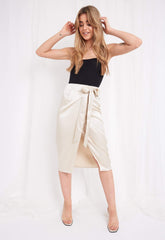 Aria Wrap Skirt - Champagne, Bottoms - Pretty Lavish