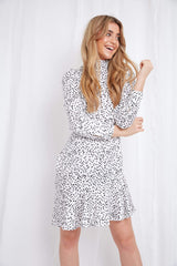Florence Mini Dress - White Polkadot, Dress - Pretty Lavish