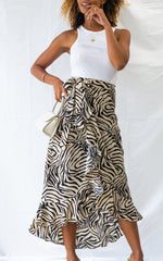 Fabian Midaxi Skirt - Zebra Print, Bottoms - Pretty Lavish
