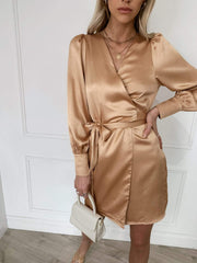 Willow Wrap Dress - Peach Gold Satin, Dress - Pretty Lavish