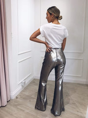 Outlet Jovi Sequin Trousers - Gunmetal, Bottoms - Pretty Lavish