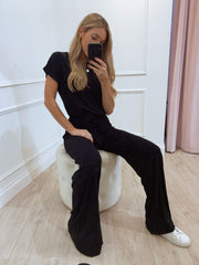 Claude Ribbed Loungewear Jumpsuit - Black, Loungewear - Pretty Lavish