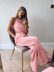 Jourdan Cut Out Jumpsuit - Pink
