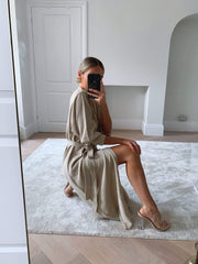 Beau Wrap Midi Dress - Light Beige, KNITWEAR - Pretty Lavish