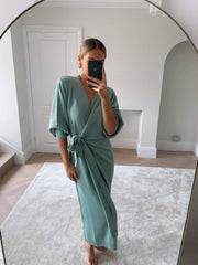 Beau Wrap Midi Dress - Light Green, KNITWEAR - Pretty Lavish (4655941877853)