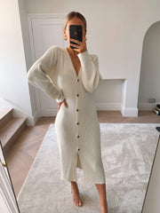 Peony Maxi Cardigan - Cream, KNITWEAR - Pretty Lavish