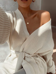 Arden Midi Tie Cardigan - Cream, KNITWEAR - Pretty Lavish