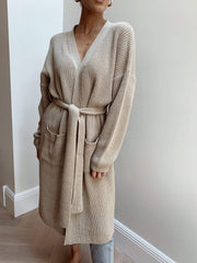 Arden Midi Tie Cardigan - Light Beige, KNITWEAR - Pretty Lavish