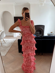 Cecile Ruffle Maxi Dress - Pink and Red Spot