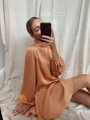 Ani Asymmetric Smock Dress - Orange