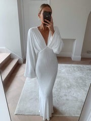Alexis Maxi Batwing Dress - White Sequin