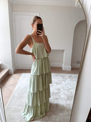Cora Ruffle Maxi Dress - Sage Green