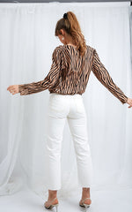 Harper Blouse - Zebra, Top - Pretty Lavish