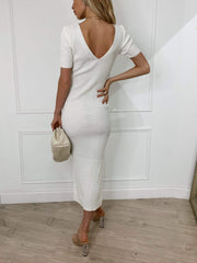 Lara Ribbed Midi Dress - Light Cream, KNITWEAR - Pretty Lavish