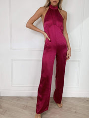Raleigh Halterneck Jumpsuit - Magenta, Jumpsuit - Pretty Lavish