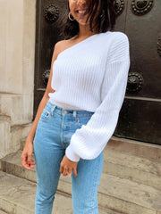 Celia One Shoulder Jumper - White, KNITWEAR - Pretty Lavish