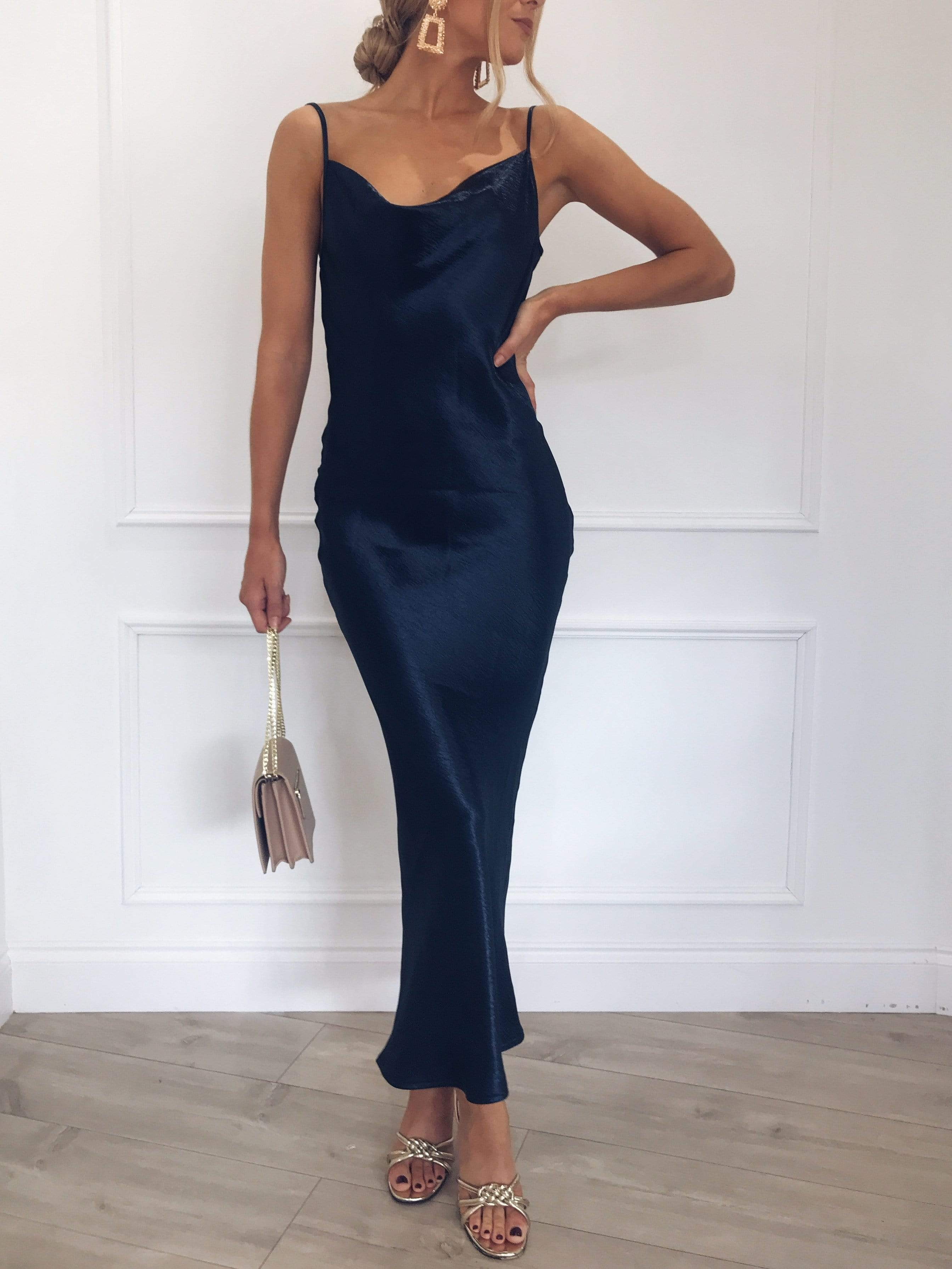 Keisha Slip Dress - Navy, Dress - Pretty Lavish