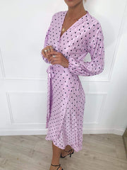 Clancy Plisse Dress - Lilac Spot, Dress - Pretty Lavish