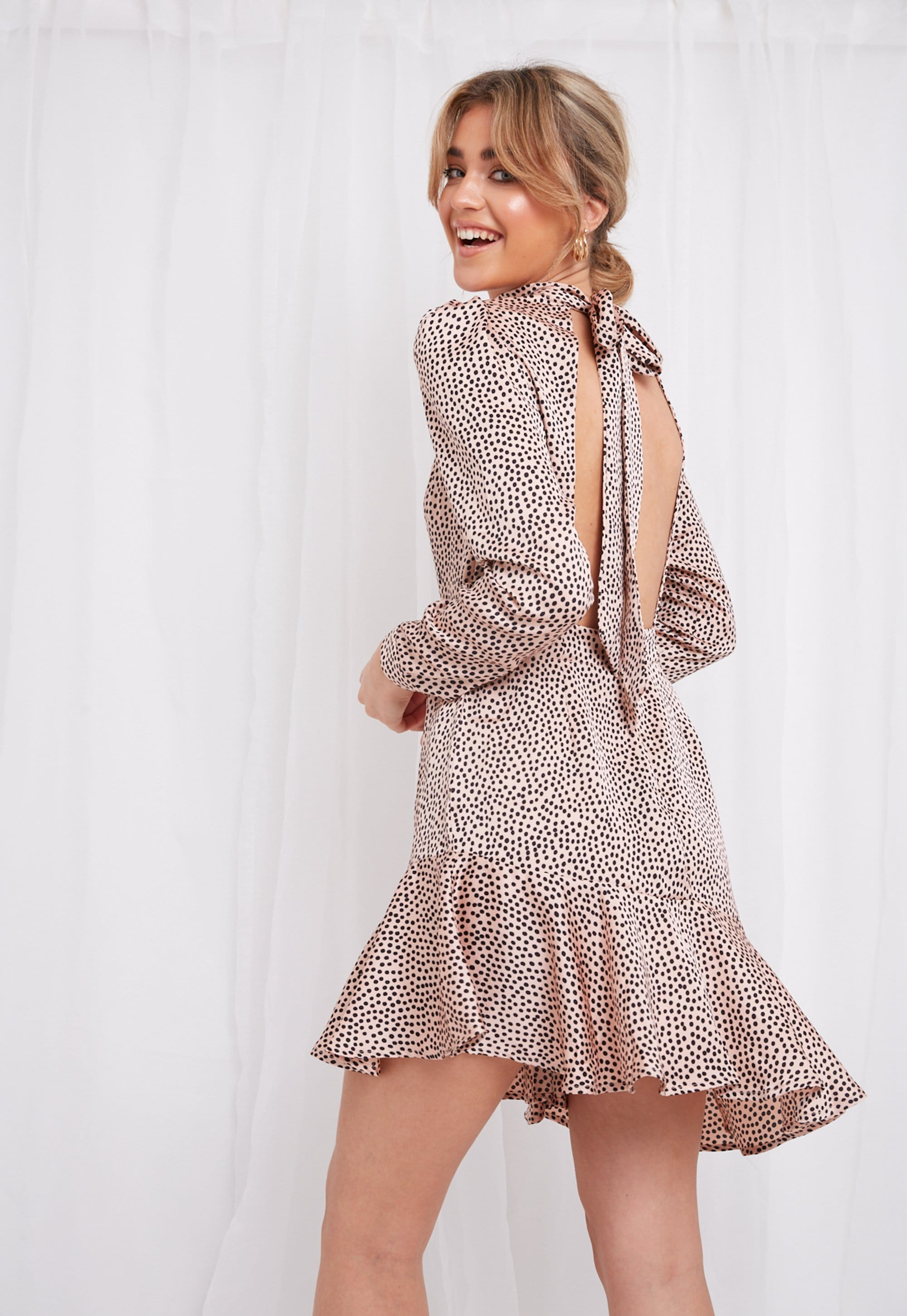 Florence Mini Dress - Pink Polkadot, Dress - Pretty Lavish