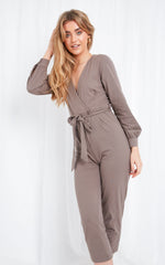 Winnie Jersey Wrap Jumpsuit - Mocha, Jumpsuit - Pretty Lavish