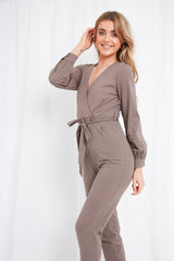 Winnie Jersey Wrap Jumpsuit - Mocha, loungewear - Pretty Lavish