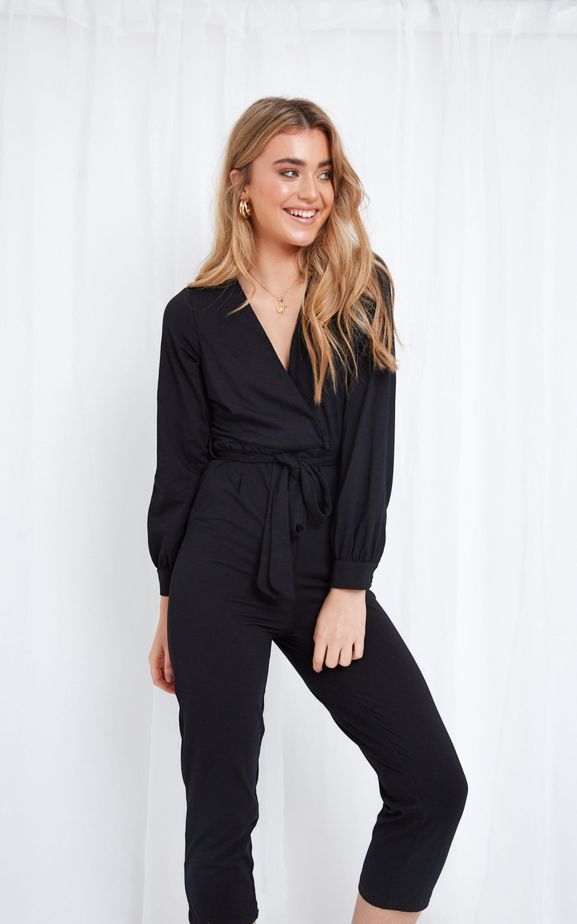 Winnie Jersey Wrap Jumpsuit - Black, Jumpsuit - Pretty Lavish