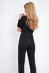 Winnie Jersey Wrap Jumpsuit - Black, loungewear - Pretty Lavish